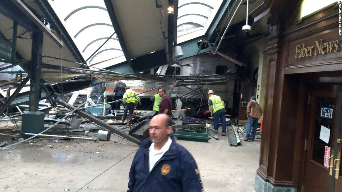 "A section of roof lies on the platform after a New Jersey Transit train <a href=""http://www.cnn.com/2016/09/29/us/new-jersey-hoboken-train-crash/index.html"" target=""_blank"">crashed at the Hoboken station</a> on Thursday, September 29. One person was reported dead, and dozens of others were injured."