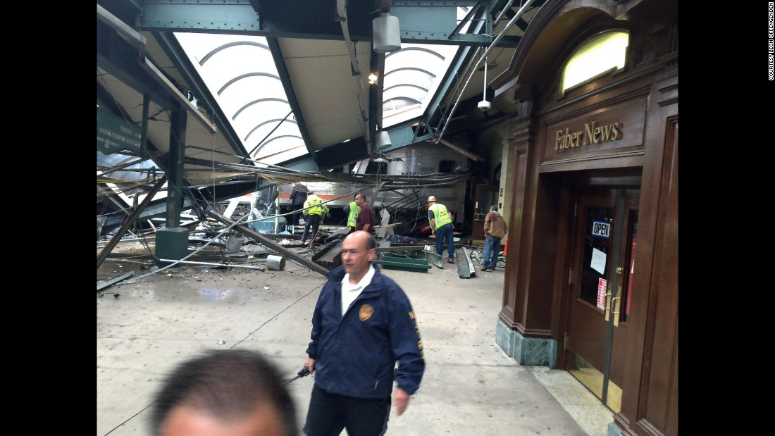 "A section of roof lies on the platform after a New Jersey Transit train <a href=""http://www.cnn.com/2016/09/29/us/new-jersey-hoboken-train-crash/index.html"" target=""_blank"">crashed through a major station in Hoboken</a> on Thursday, September 29. At least one person was killed, officials said, and more than 100 were injured. Witnesses said the train overran its stopping point, slammed into a bumper block and went airborne. The cause is under investigation."