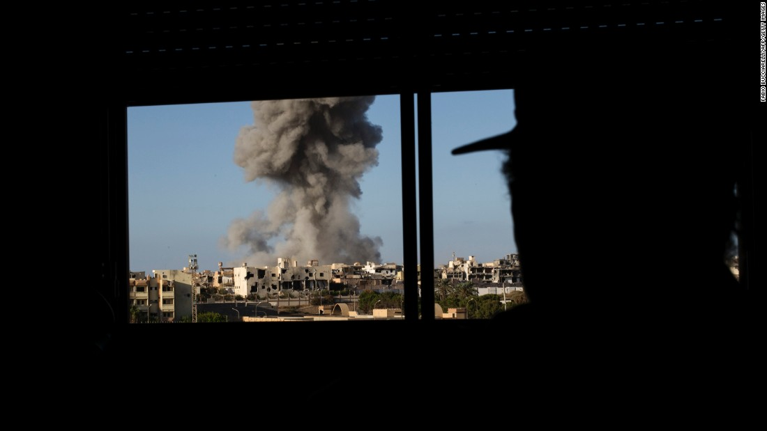 "Smoke rises after an airstrike in Sirte, Libya, on Wednesday, September 28. Government militia fighters, backed by the United States, <a href=""http://www.cnn.com/2016/09/16/middleeast/sirte-libya-final-stand-isis/"" target=""_blank"">have been trying to expel the ISIS militant group</a> from Sirte."