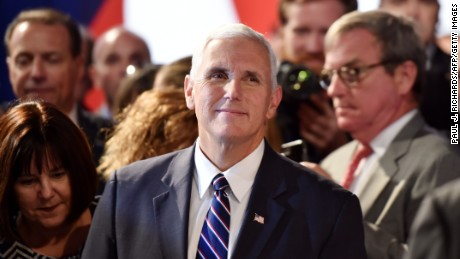 Republican candidate for Vice President Mike Pence looks on before the first presidential debate at Hofstra University in Hempstead, New York on September 26, 2016.