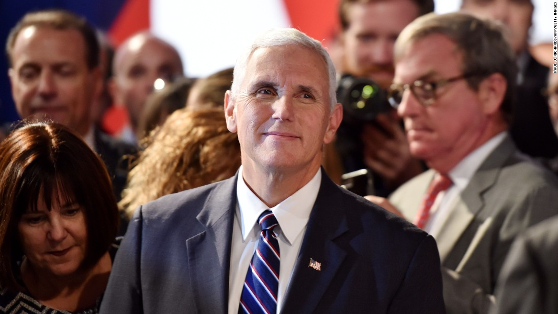 Pence looks on before the first presidential debate at Hofstra University in Hempstead, New York, on September 26, 2016.