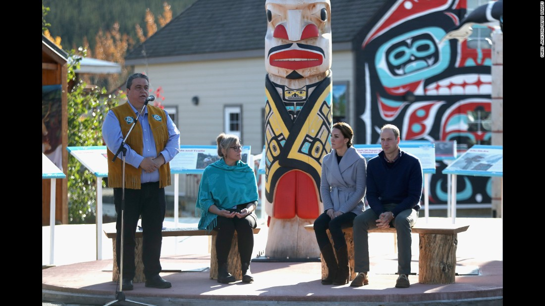 The couple attend a cultural welcome in Carcross.