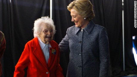 Watch as Hillary Clinton meets a 103-year-old supporter