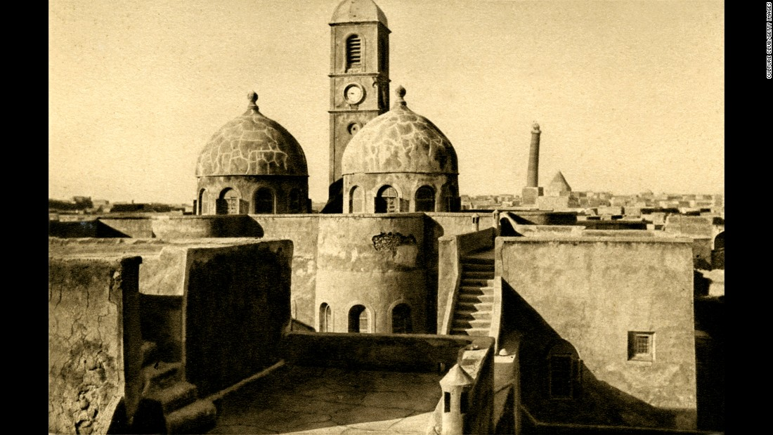 The clock tower of the Dominican Mission Church in Mosul, built in the 1870s, was a gift from Empress Eugenie of France. The ancient city is almost 3,000 years old and has historically been important for trading. Located in northern Iraq near the borders of Syria and Turkey, it's situated on the Tigris river and set amid rich oil fields.