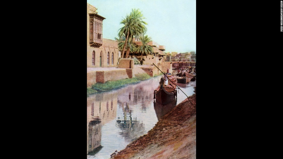 This print of Mosul is from the 1930s, when Iraq was a kingdom occupied by the British.