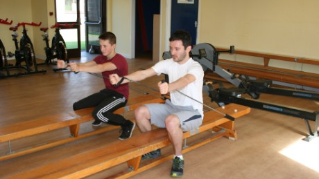 An intensive pull band routine is part of Yariv Kam's fitness test at the British Racing school.
