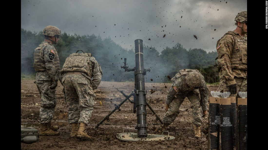 U.S. Army soldiers fire a mortar during a training exercise in Japan on Tuesday, September 13.