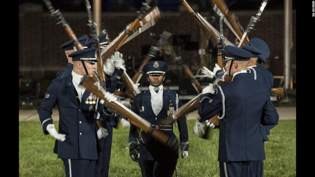 The U.S. Air Force Honor Guard Drill Team performs in Washington on Thursday, September 22.