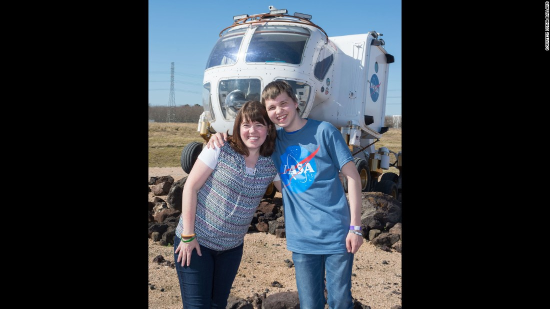 Jacob and his mother, Letha, attended the SpaceX launch of the Courage suit to the ISS.