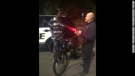 Officers gave the bike to Duncan at the end of his shift.