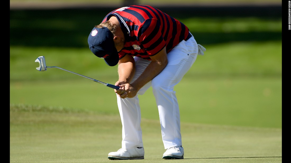 Ryan Moore of the United States reacts to a missed putt on the fourth green during afternoon fourball matches.