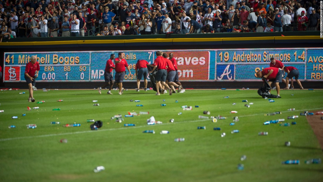 Right field at Turner Field is covered in debris after a controversial infield fly rule call in the seventh inning resulted in a delay of the National League Wild Card Game between the Braves and the St. Louis Cardinals on October 5, 2012.