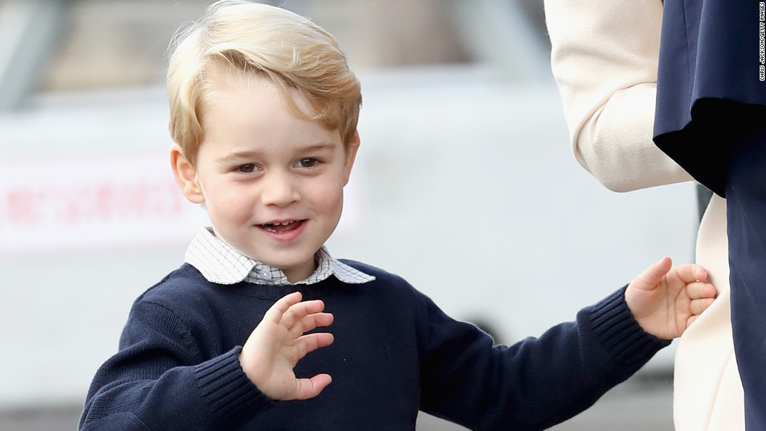 Prince George of Cambridge waves as he leaves from Victoria Harbour to board a sea-plane on October 1.