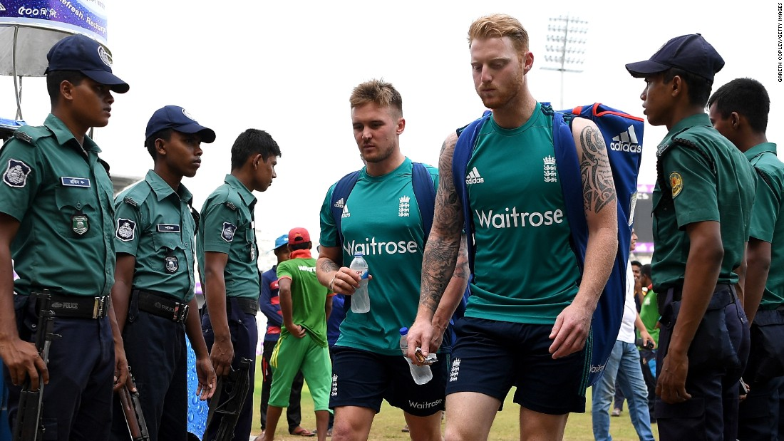 A huge security presence greeted England's cricketers as they arrived in Bangladesh for a three-match series. Whenever the team leaves its hotel, armed guards will follow as it is afforded Presidential levels of protection.