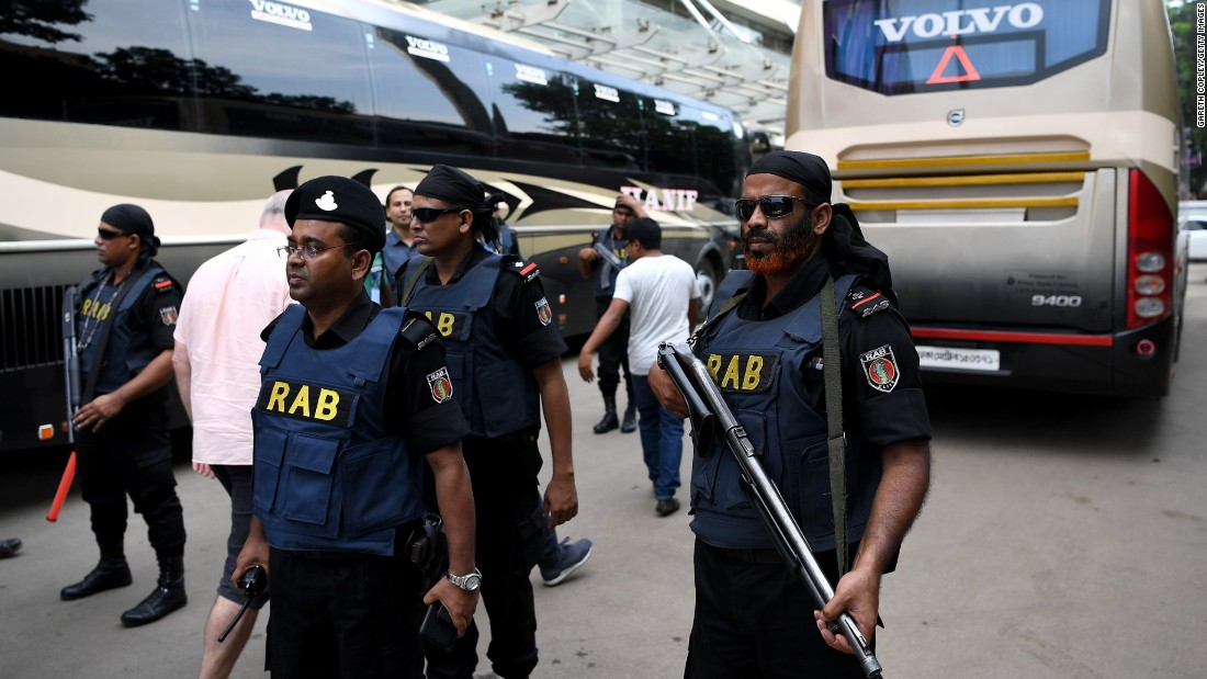 An estimated 500 security officials are protecting the England team with rooftop snipers, sniffer dogs, a bomb disposal unit and even a decoy team coach on hand as well as a bevy of armed guards. Roads were shut down for the team's first trip to the Sher-e-Bangla Stadium to train.