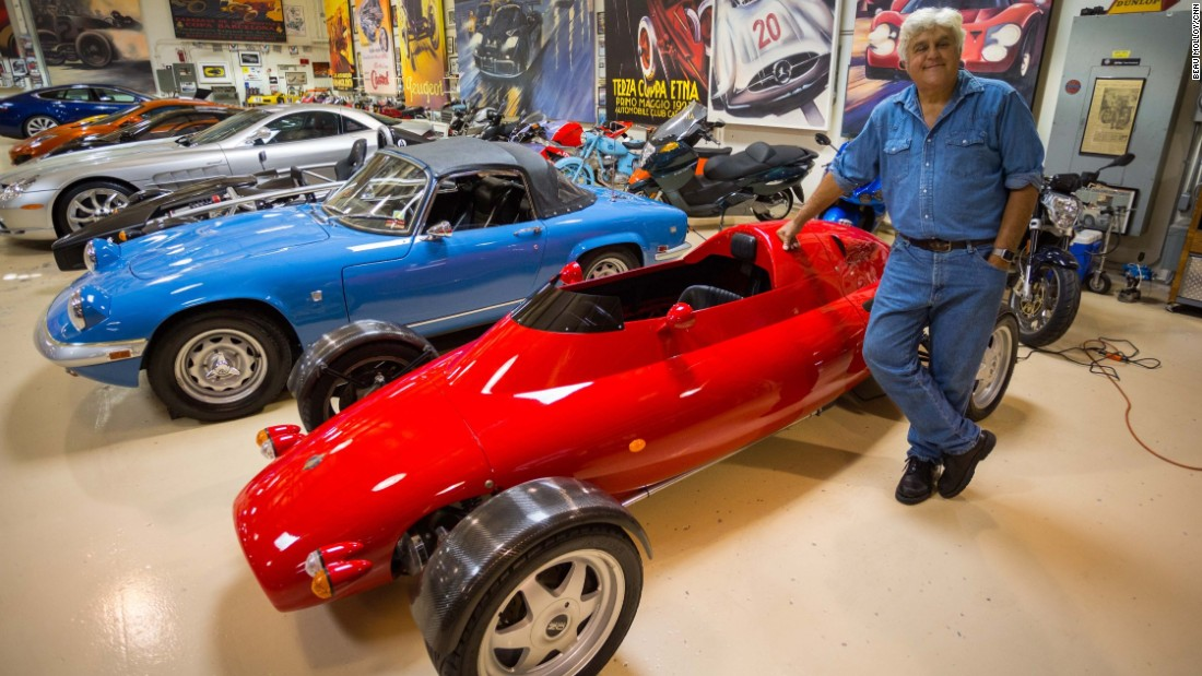 Hollywood star Jay Leno restores vintage cars and motorbikes in his garage in Burbank, California.