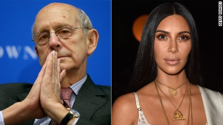 Stephen Breyer and Kim Kardashian are pictured in this composite image.