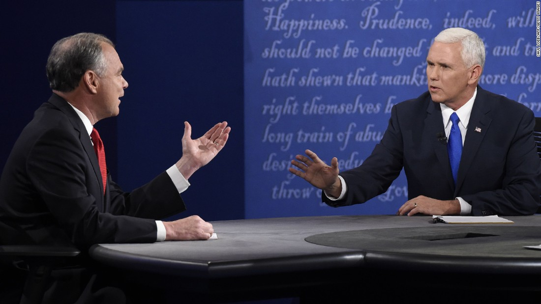 Democratic vice presidential candidate Tim Kaine, left, and Republican vice presidential candidate Mike Pence speak during their debate at Longwood University in Farmville, Virginia, on October 4, 2016.