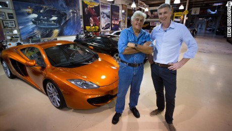 Jay Leno in his garage with CNN Sport's Don Riddell