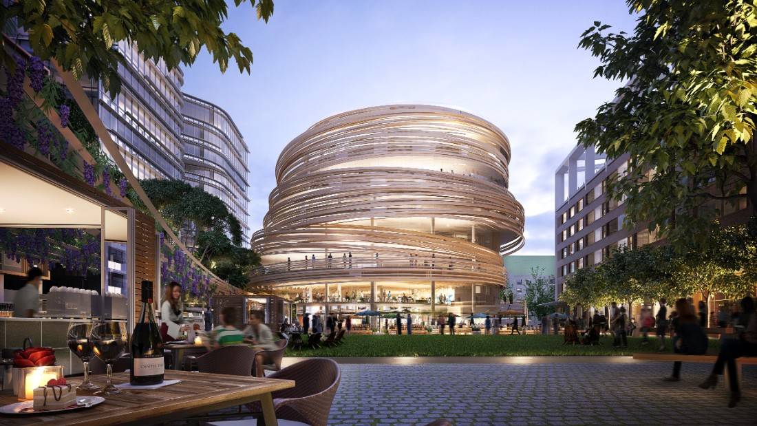 Kengo Kuma, an award-winning Japanese architect, is known for his minimalism and innovative use of natural materials in his buildings. His design for the Darling Exchange in Sydney, Australia will feature 20 kilometers of curved timber.