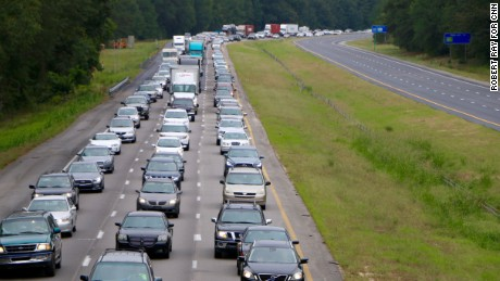 There were traffic jams on I-26 as far west as Columbia, South Carolina.