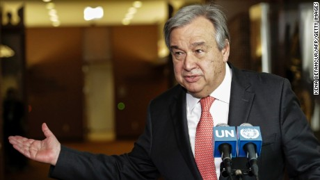 UN Secretary-General Antonio Guterres says he objects to the Trump travel ban and doesn't believe it will stop terrorism.