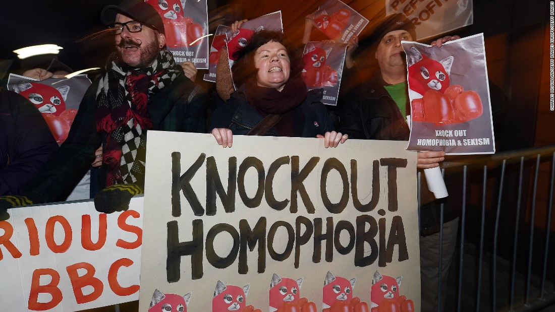 Protesters demonstrate outside the 2015 BBC Sports Personality of the Year awards in Belfast to oppose Fury's addition to the shortlist after he made controversial comments about homosexuality.