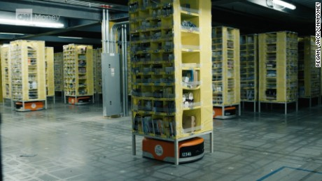 Follow an Amazon pkg through the automated Amazon fulfillment center.
