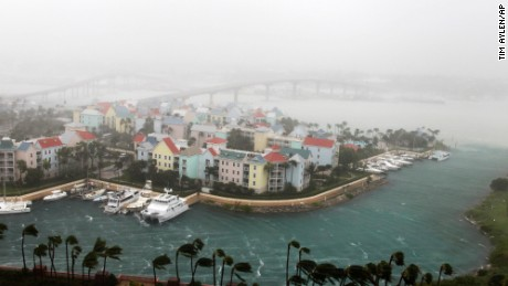 Hurricane Matthew moves through Paradise Island in Nassau, Bahamas, Thursday, October 6. The head of the Bahamas National Emergency Management Authority, Capt. Stephen Russell, said there were many downed trees and power lines, but no reports of casualties.