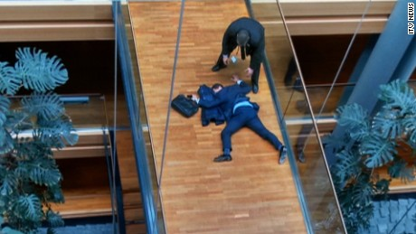 UKIP MEP Steven Woolfe is shown collapsed on the floor at the European Parliament after an 'altercation.'