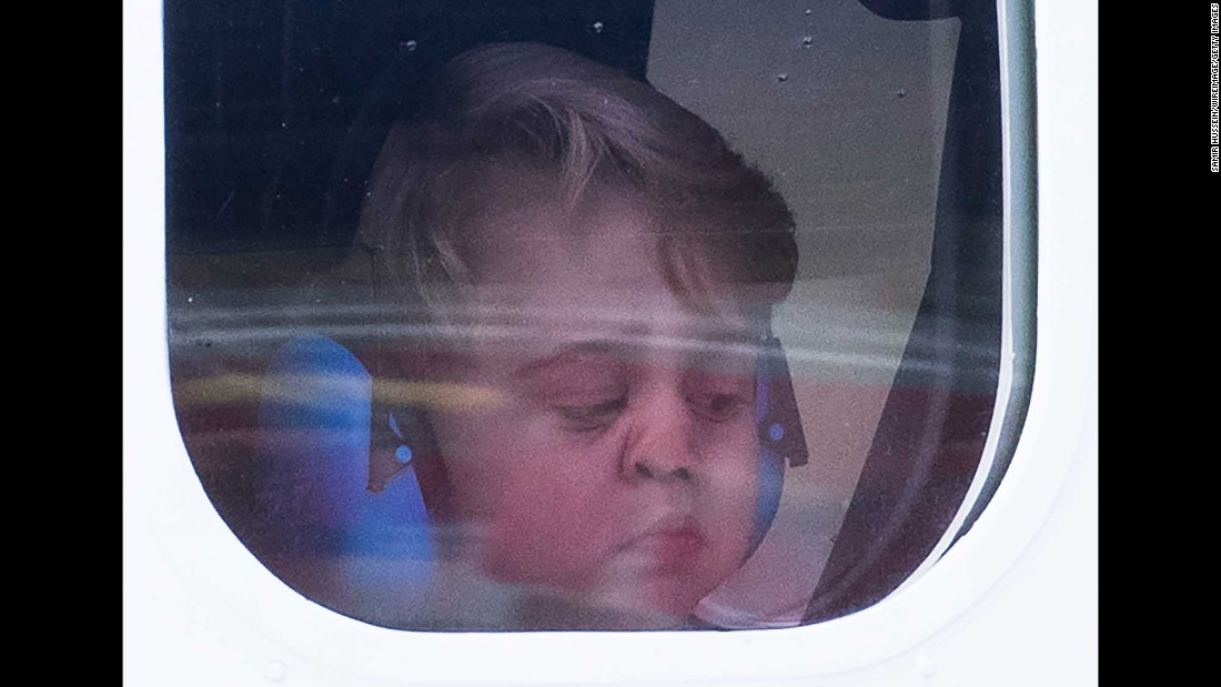 "Britain's Prince George looks out the window of a seaplane as he and his family leave Victoria, British Columbia, on Saturday, October 1. <a href=""http://www.cnn.com/2016/09/24/world/gallery/royals-visit-canada-sept-2016/index.html"" target=""_blank"">See more photos of the royals' eight-day trip to Canada </a>"