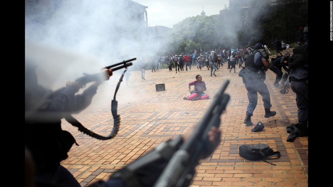 "Police <a href=""http://www.cnn.com/2016/10/04/africa/south-africa-student-protests/"" target=""_blank"">fire tear gas, stun grenades and rubber bullets </a>at people who were protesting at Johannesburg's Wits University on Tuesday, October 4. The protesters were voicing frustration over an increase in South Africa's university fees."
