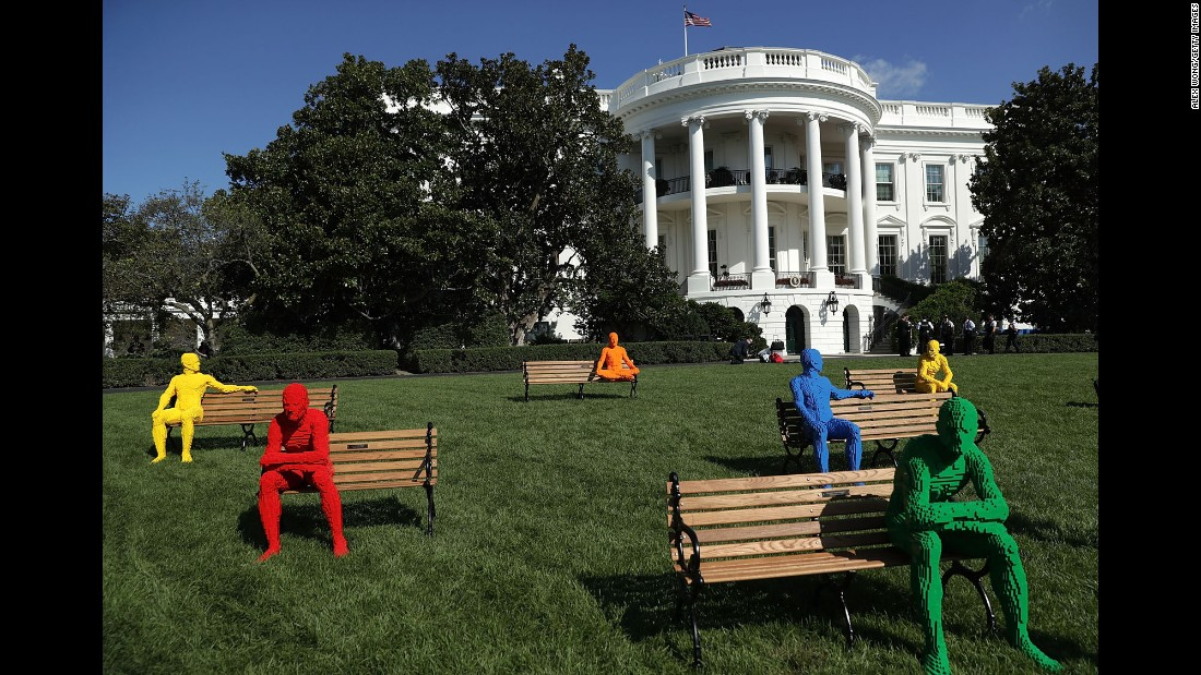 "A Lego art installation by Nathan Sawaya is set up on the South Lawn of the White House on Monday, October 3. It was part of <a href=""https://www.whitehouse.gov/sxsl"" target=""_blank"">South by South Lawn,</a> an event hosted by the White House."