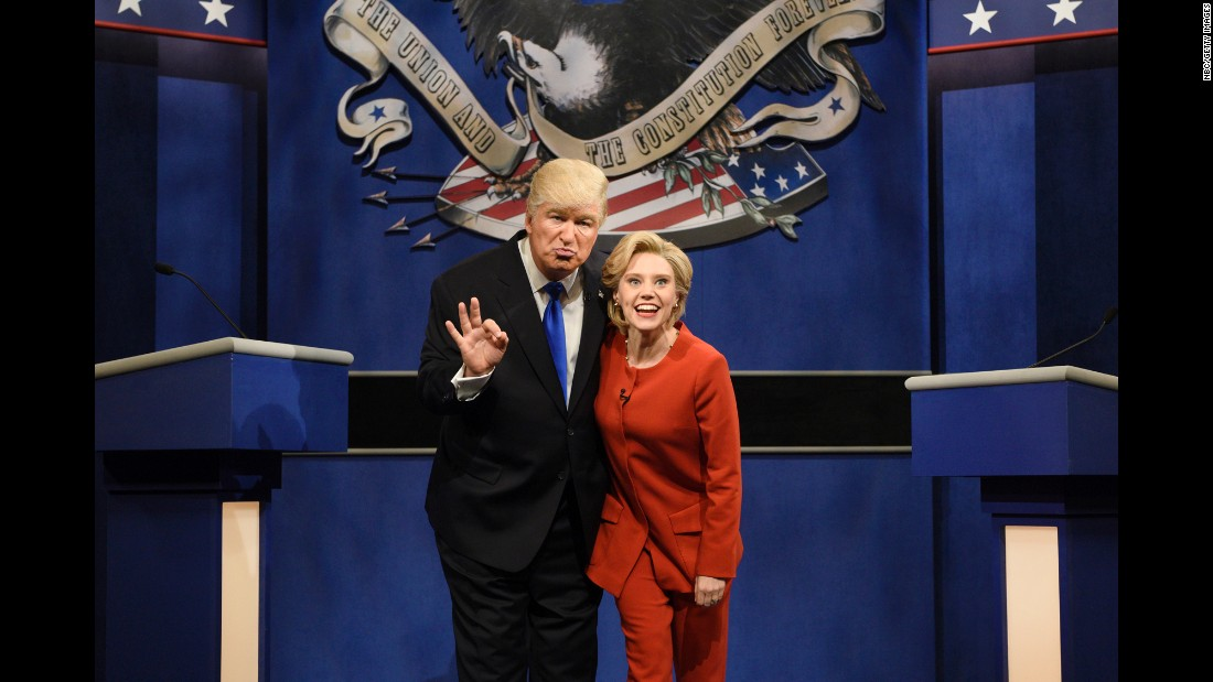 "Alec Baldwin and Kate McKinnon <a href=""http://money.cnn.com/2016/10/01/media/snl-returns/index.html"" target=""_blank"">play Donald Trump and Hillary Clinton</a> during a ""Saturday Night Live"" skit on Saturday, October 1."