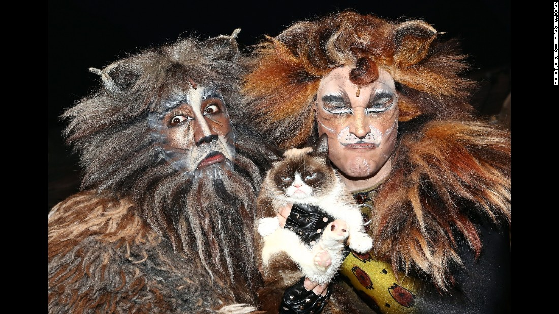 "The <a href=""http://money.cnn.com/2015/04/14/technology/social/grumpy-cat-celebrity-money/"" target=""_blank"">viral sensation</a> Grumpy Cat visited the cast of Broadway's ""Cats"" -- including Quentin Earl Darrington, left, and Tyler Hanes -- on Friday, September 30."