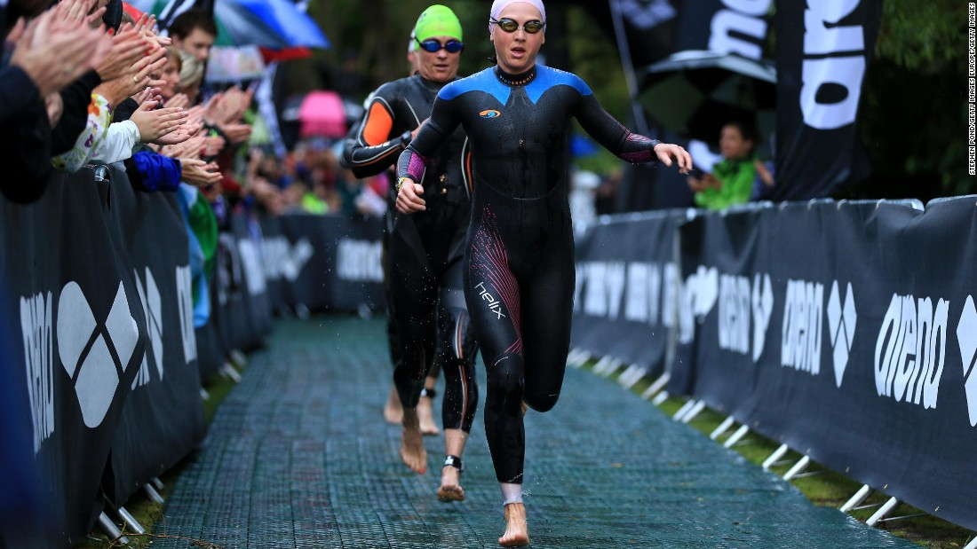 She now faces the arduous task in 30-degree heat of first tackling a 3.85-kilometer swim...