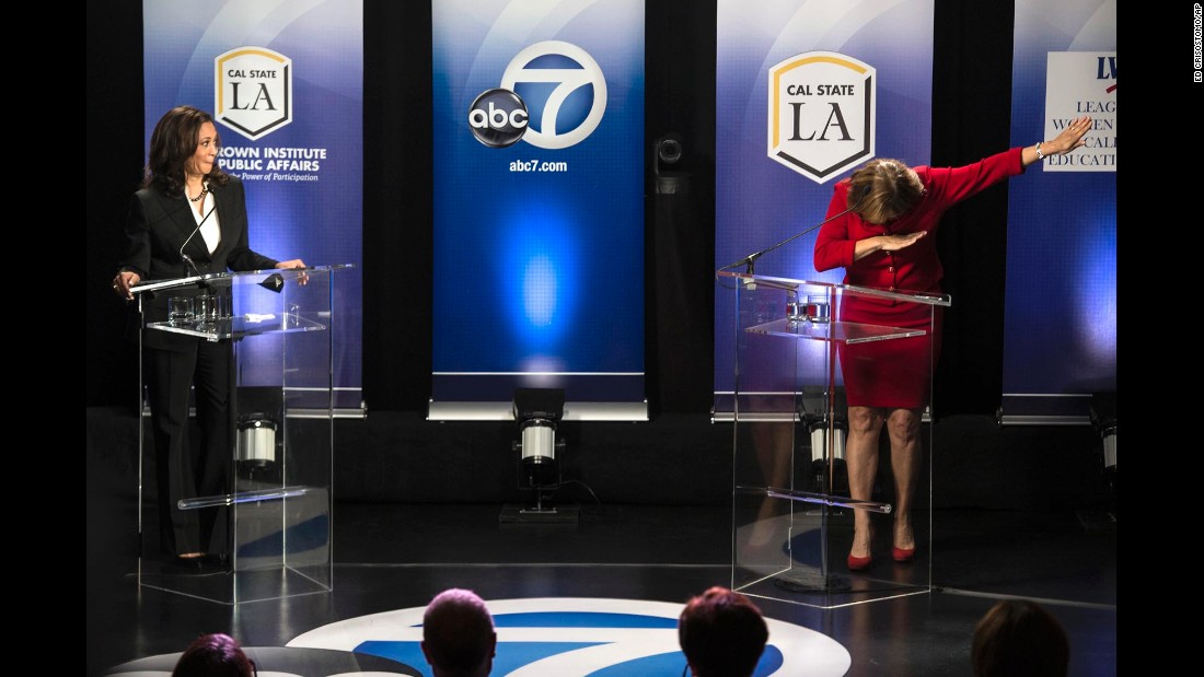 "California Rep. Loretta Sanchez <a href=""http://www.cnn.com/2016/10/06/politics/california-senate-race-debate-dab-loretta-sanchez-kamala-harris/index.html"" target=""_blank"">does a ""dab""</a> at the end of her debate with state Attorney General Kamala Harris on Wednesday, October 5. The two Democrats are running for US Senate."