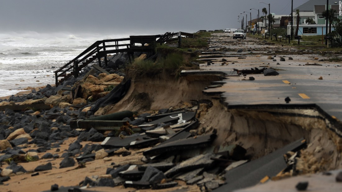 Parts of Highway A1A in Flagler Beach, Florida, were washed away by Hurricane Matthew on Friday, October 7.