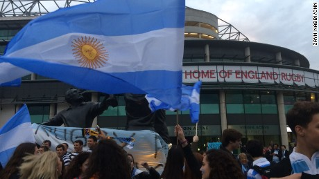 Argentina fans gather outside of Twickenham ahead of Saturday's game against Australia.