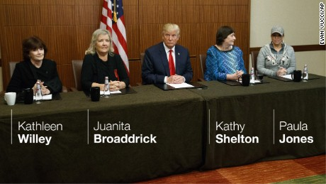 Donald Trump holds a press conference before the debate with women who have accused Bill Clinton of inappropriate behavior.