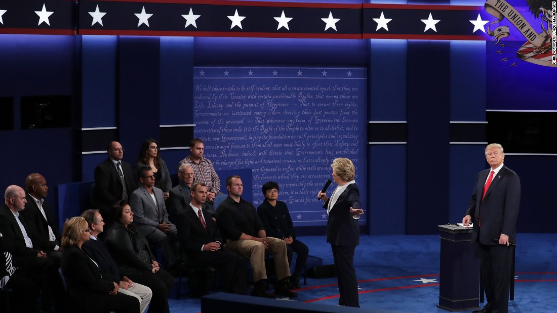 Clinton responds to a question during the event, which used a town-hall format that included questions from undecided voters.