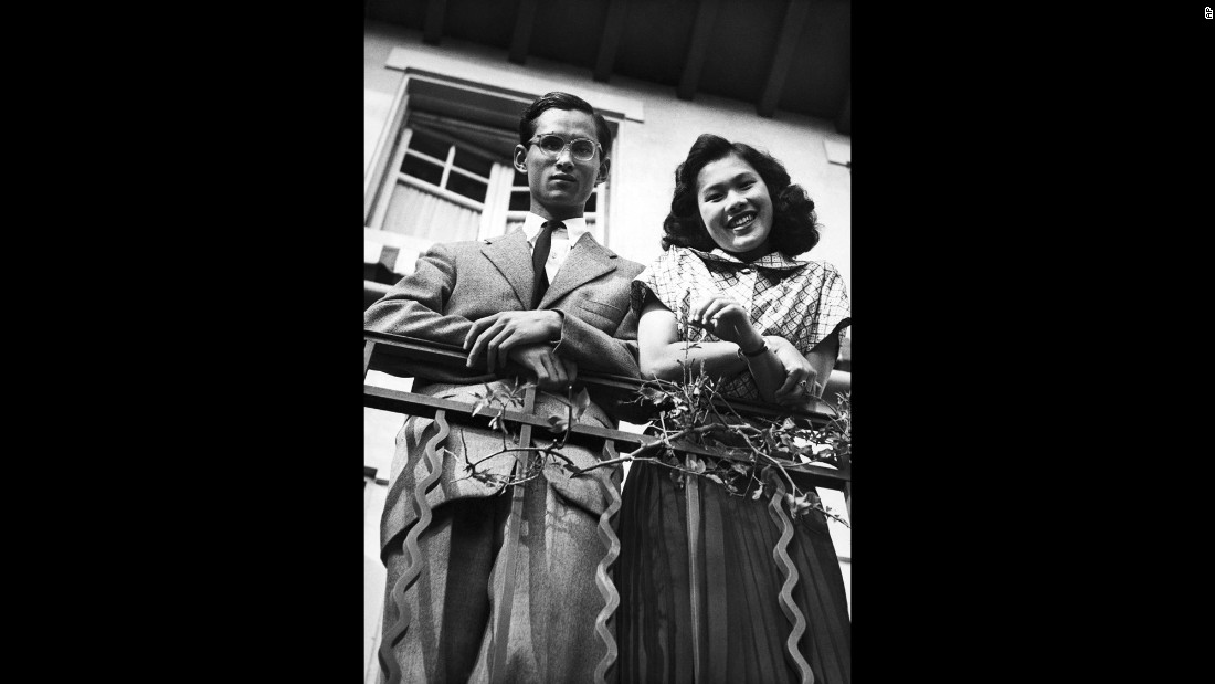 Bhumibol and his future wife, Princess Sirikit Kityakara, are pictured in Lausanne in 1949. The couple married a year later at Srapathum Palace in Bangkok, Thailand.