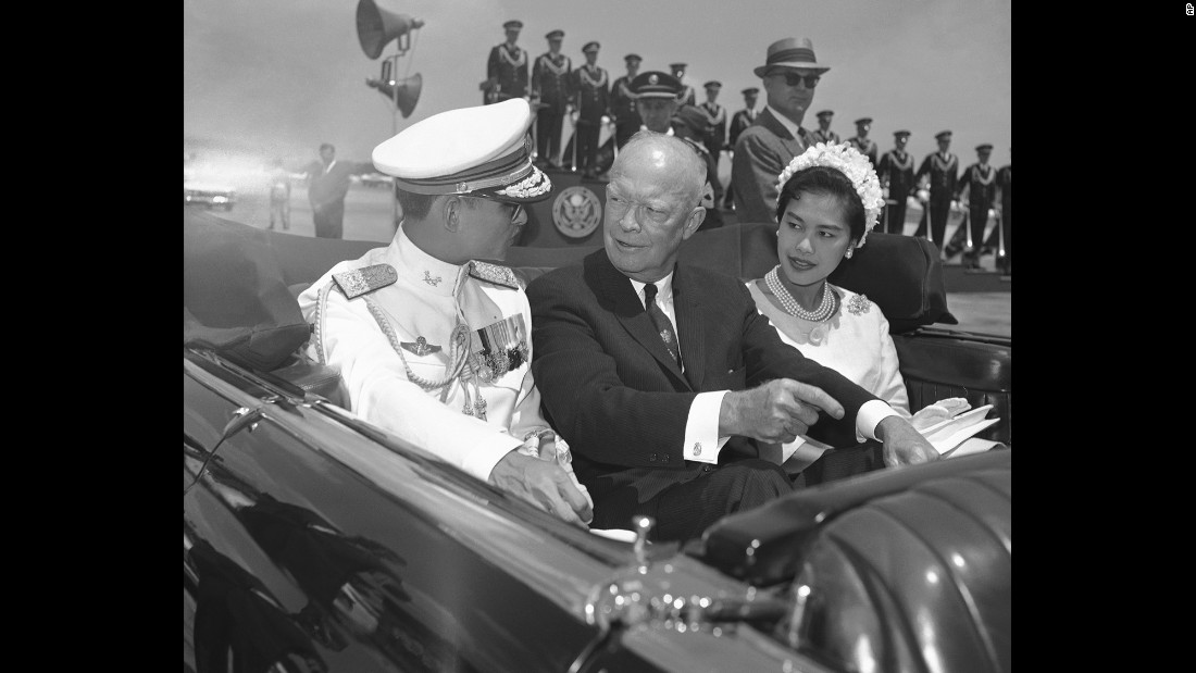 The royal couple ride with U.S. President Dwight Eisenhower during a five-day state visit to the United States in 1960.