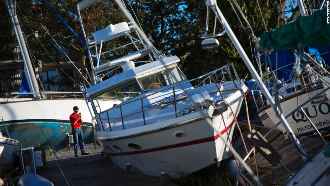 Boats are pushed up among twisted docks in Hilton Head on October 9.