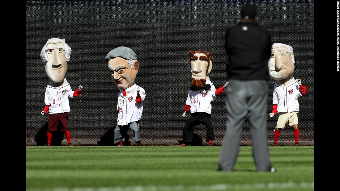 "Washington's ""Racing Presidents"" prepare to compete at a Major League Baseball playoff game on Sunday, October 9."