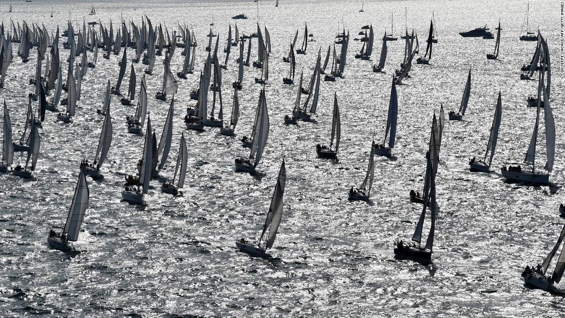 Boats sail in the Gulf of Trieste during the Barcolana regatta on Monday, October 10. The Gulf of Trieste is in the Adriatic Sea near Italy, Slovenia and Croatia.