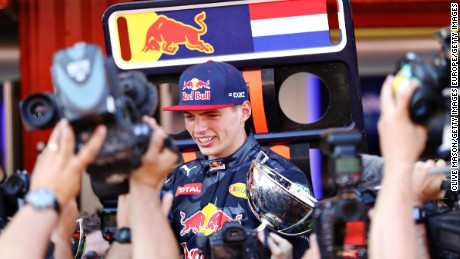MONTMELO, SPAIN - MAY 15:  Max Verstappen of Netherlands and Red Bull Racing celebrates his first win in F1 with his team during the Spanish Formula One Grand Prix at Circuit de Catalunya on May 15, 2016 in Montmelo, Spain.  (Photo by Clive Mason/Getty Images)