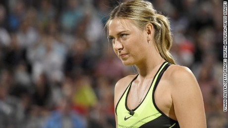LAS VEGAS, NV - OCTOBER 10:  Tennis player Maria Sharapova stands on the court during the World TeamTennis Smash Hits charity tennis event benefiting the Elton John AIDS Foundation at Caesars Palace on October 10, 2016 in Las Vegas, Nevada.  (Photo by Ethan Miller/Getty Images)