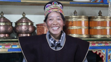 La Mu runs an inn four tourists out of her home in a small Tibetan village.  She received government subsidies to do so.  She was the only Tibetan CNN was given permission to speak to on our tour.