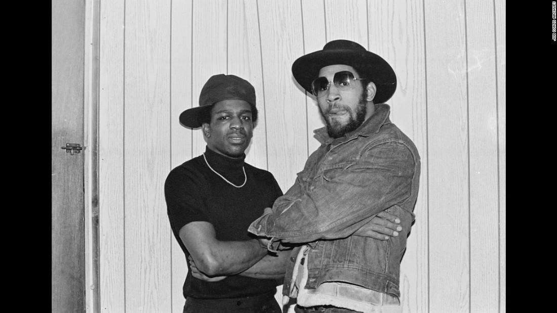 "Tony Tone, left, and DJ Kool Herc pose backstage at T-Connection in 1979. Kool Herc, is often called the father of hip-hop music. ""He hates that picture because his tongue is sticking out,"" Conzo said."